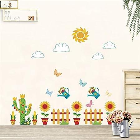 GUDOJK Plantas de Colores jardín de Flores en Maceta Pegatinas de Pared para Habitaciones de niños Armario decoración para el hogar Dibujos Animados Tatuajes de Pared DIY Cartel PVC Mural: Amazon.es: Hogar