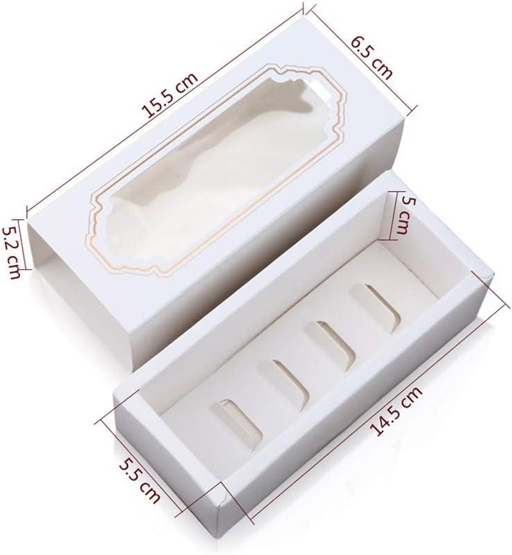 Pour cupcakes Blanc biscuits DOITOOL Bo/îtes /à macarons en papier kraft avec fen/être transparente bonbons desserts chocolats