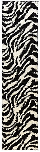 Plush Zebra Print - Well Woven Runner Rug Madison Shag Safari Zebra Black Animal Print 20'' X 7'2'' Flokati Soft Plush Thick Rug 7033