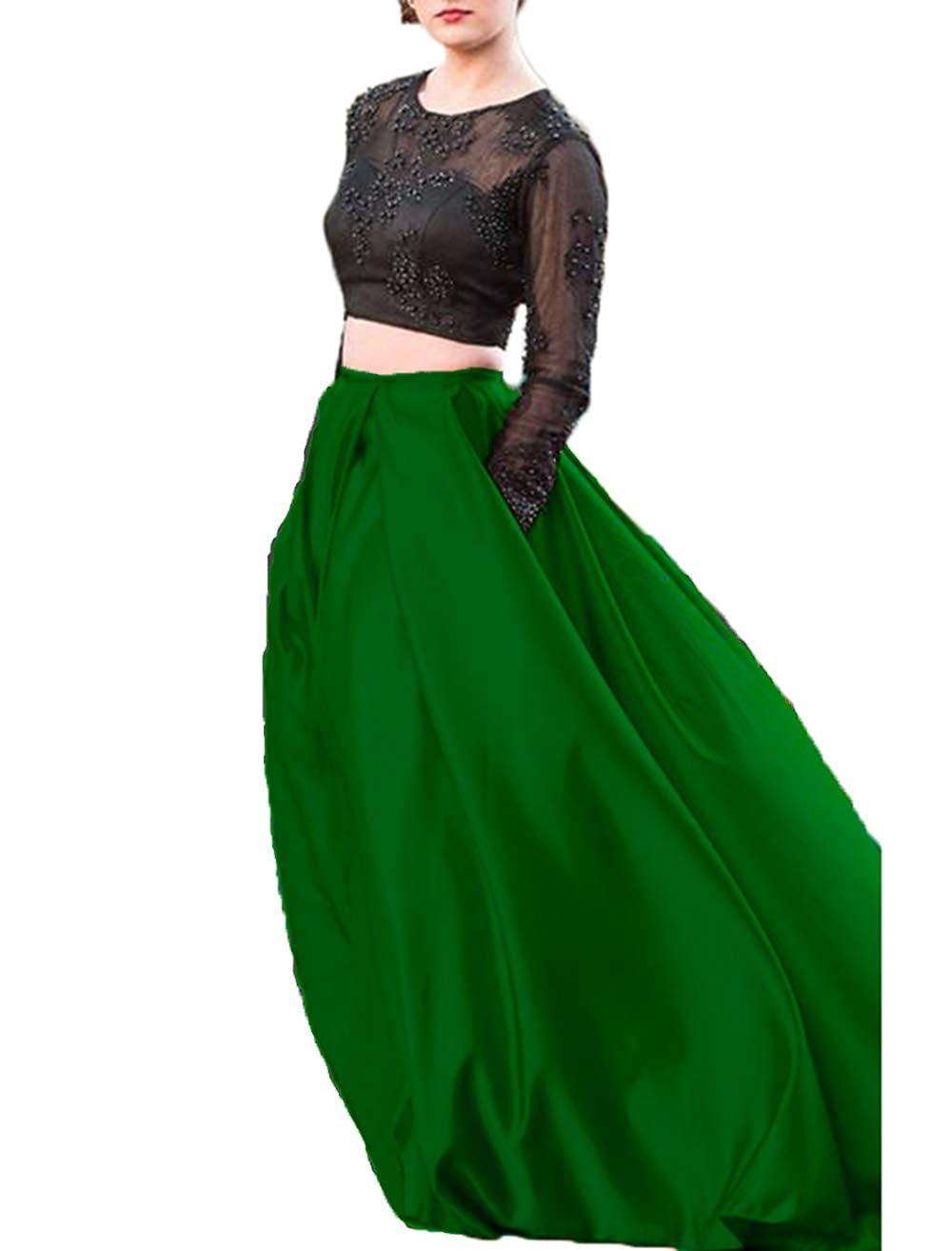 Green alilith.Z Sexy 2 Piece Prom Dresses Beaded Appliques Long Sleeves Formal Evening Party Gowns Women Pockets