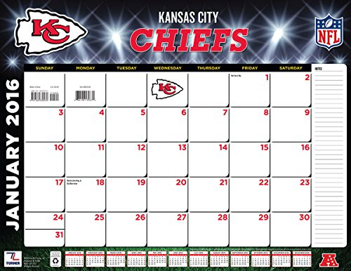 "Turner Kansas City Chiefs 2016 Desk Calendar, January-December 2016, 22 x 17"" (8061540)"