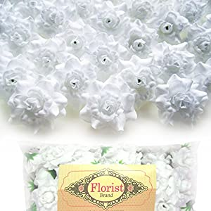 "(100) Silk White Roses Flower Head - 1.75"" - Artificial Flowers Heads Fabric Floral Supplies Wholesale Lot for Wedding Flowers Accessories Make Bridal Hair Clips Headbands Dress 96"