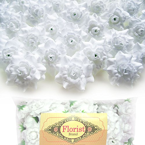 (100) Silk White Roses Flower Head - 1.75 - Artificial Flowers Heads Fabric Floral Supplies Wholesale Lot for Wedding Flowers Accessories Make Bridal Hair Clips Headbands Dress