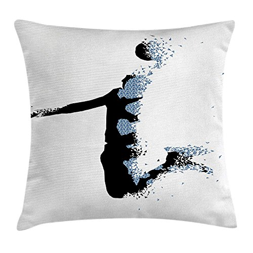 Teen Room Decor Throw Pillow Cushion Cover, Modern Stylized Basketball Player in Fractal Pattern Artistic Design, Decorative Square Accent Pillow Case, 18 X 18 Inches, Black Light Blue