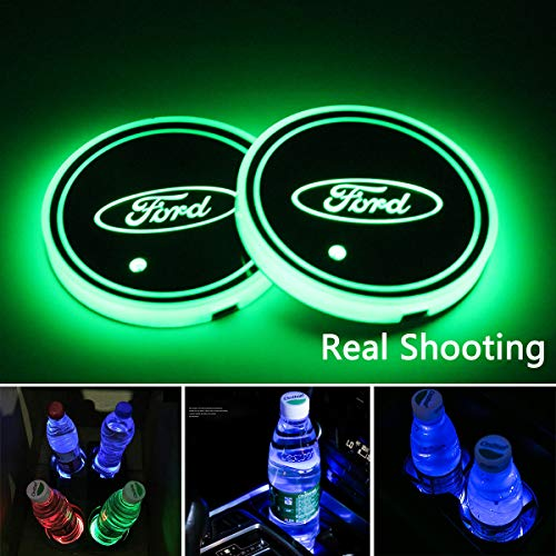 2pcs LED Car Cup Holder Lights for Ford, 7 Colors Changing USB Charging Mat Luminescent Cup Pad, LED Interior Atmosphere Lamp from Interesting car