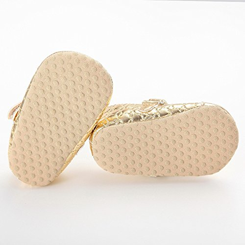 Baby Girls Golden Pink Bowknot Pu Leather Soft Sole Mary Jane Shoes Gold 12-18 Months