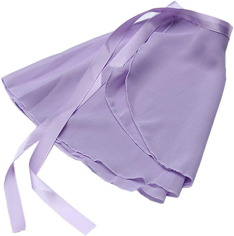 Girls Ballerina Sheer Wrap Ballet Tutu Dress Child Dance Skate Over Scarf Dancewear with Tie Waist Chiffon Dance Skirts, Lavender, Free Child: Clothing