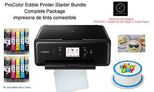 ProColor - Impresora de tinta comestible, kit de principiantes con Canon inalámbrico todo en uno y 2 juegos de cartuchos de...