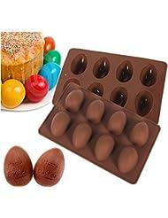 Megrocle Random color 8 holes Egg-shaped Truffles Chocolate,Cake mold,chocolate mold,Pudding mold,Silicone mold,Ice tray mold,baking mold, Easter Egg Silicone Cake Baking Mold(Set of 2)