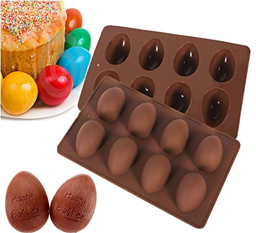 Megrocle Random color 8 holes Egg-shaped Truffles Chocolate,Cake mold,chocolate mold,Pudding mold,Silicone mold,Ice tray mold,baking mold, Easter Egg Silicone Cake Baking Mold(Set of 2)