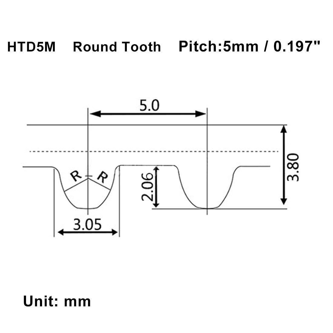 sourcing map HTD5M 152 dent Sangle crant/ée /à Pas Caoutchouc 760mm Cercle 15mm Large