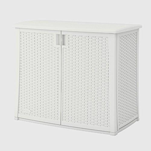 Rattan Storage Cabinet 40 Inches White Plastic 2 Door Hidden Storage Indoor Outdoor Home Balcony Garden Backyard Weather Resistant Waterproof Adaptable Shelf & eBook by Easy&FunDeals (2 Door Outdoor Cabinet)