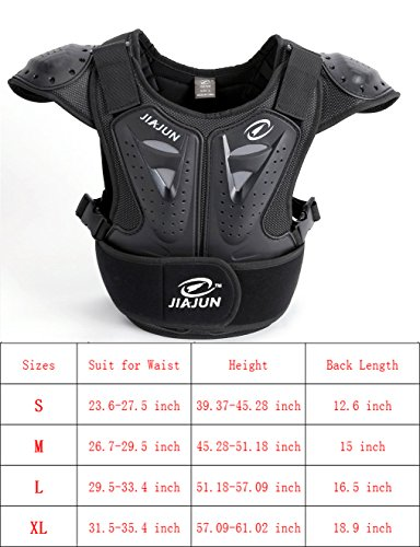 BARHAR Kids Dirt Bike Body Chest Spine Protector Armor Vest Protective Gear for Dirtbike Bike Motocross Skiing Snowboarding (Black, M)