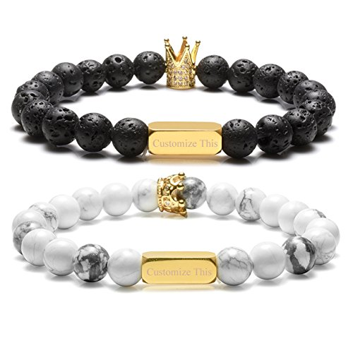 Top Plaza Personalized Custom Couples Lover His Queen Her King Bracelets Name Words Engraving 8MM Natural Lava Rock White Turquoise Stone Beads Stretch Bracelet-Him and Hers
