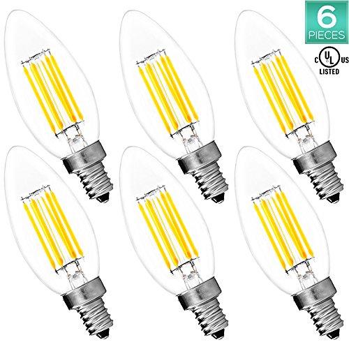6-Pack Candelabra LED E12 Bulb, Luxrite, 6W LED Torpedo Bulb, 5000K Bright White, 650 Lumens, 60W Candelabra Bulb LED, E12 Candle Base, UL (Torpedo Candelabra)