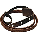 New Morgan Monroe MDS-2-BR Leather Mandolin Strap, Brown, Braided - Works with other instruments too