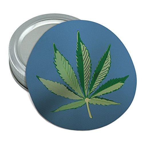 (Marijuana Pot Weed Leaf Bud Ganja Green Mary Jane on Blue Round Rubber Non-Slip Jar Gripper Lid Opener)