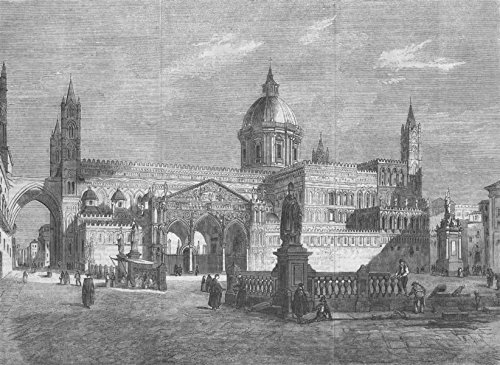 ITALY. The Cathedral of Palermo, Sicily - 1860 - old antique vintage print - engraving art picture prints of Italy Churches - Illustrated London News ()