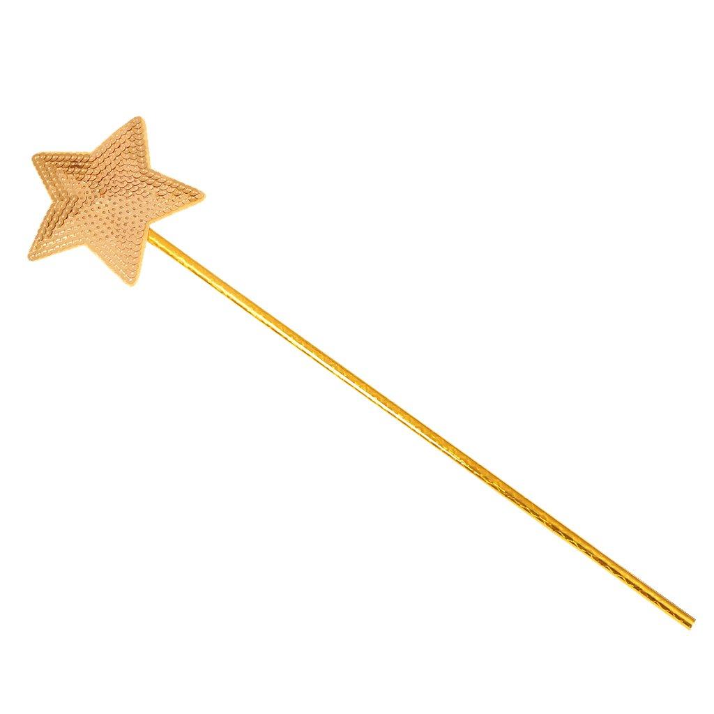 Homyl Stern From Feenstab Elfenstab Zauberstab Elfe Waldfee Waldelfenstab Stab Karneval, Mädchen Märchenstab Märchen - Gold, Einheitsgröße Einheitsgröße