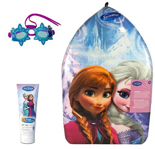 Frozen Elsa and Anna Pool Party Set Includes 1 Kick Board, 1 Disney Frozen Swim Goggles and 1 Frozen Sunscreen Lotion