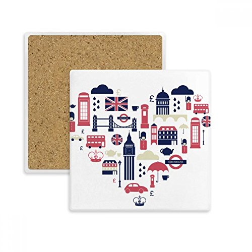 Heart London Bridge UK Big Ben Square Coaster Cup Mug Holder Absorbent Stone for Drinks 2pcs Gift Heart London Mug