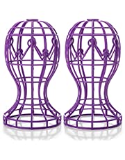 Wig Stand 2 Pieces Yisane Wig Head Stand for Women Wig Holder Stand Wig Hat Cap Stand Plastic Wig Holder Portable Easy Assembly Durable Stable Folding(Wig Stand Purple )