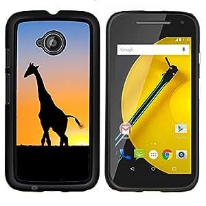 LECELL--Funda protectora / Cubierta / Piel For Motorola Moto E2 E2nd Gen -- Puesta del sol de la jirafa --