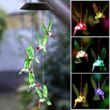 Cheap Christmas Thanksgiving Solar Wind Chime, LED Solar Wind Chime Outdoor Waterproof Color-Changing Six Hummingbird Wind Chimes For Home/Party/Garden/Night Garden Decoration/Festival Decor/Valentines Gift
