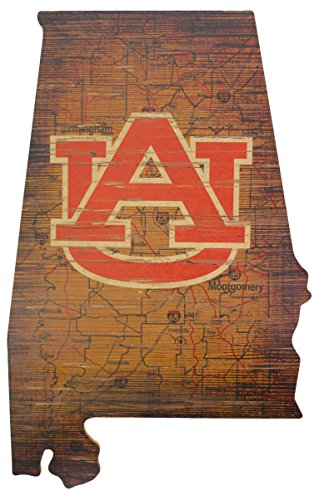 NCAA Auburn Tigers 15'' x 24'' State Cutout with Logo Wood Sign by Fan Creations