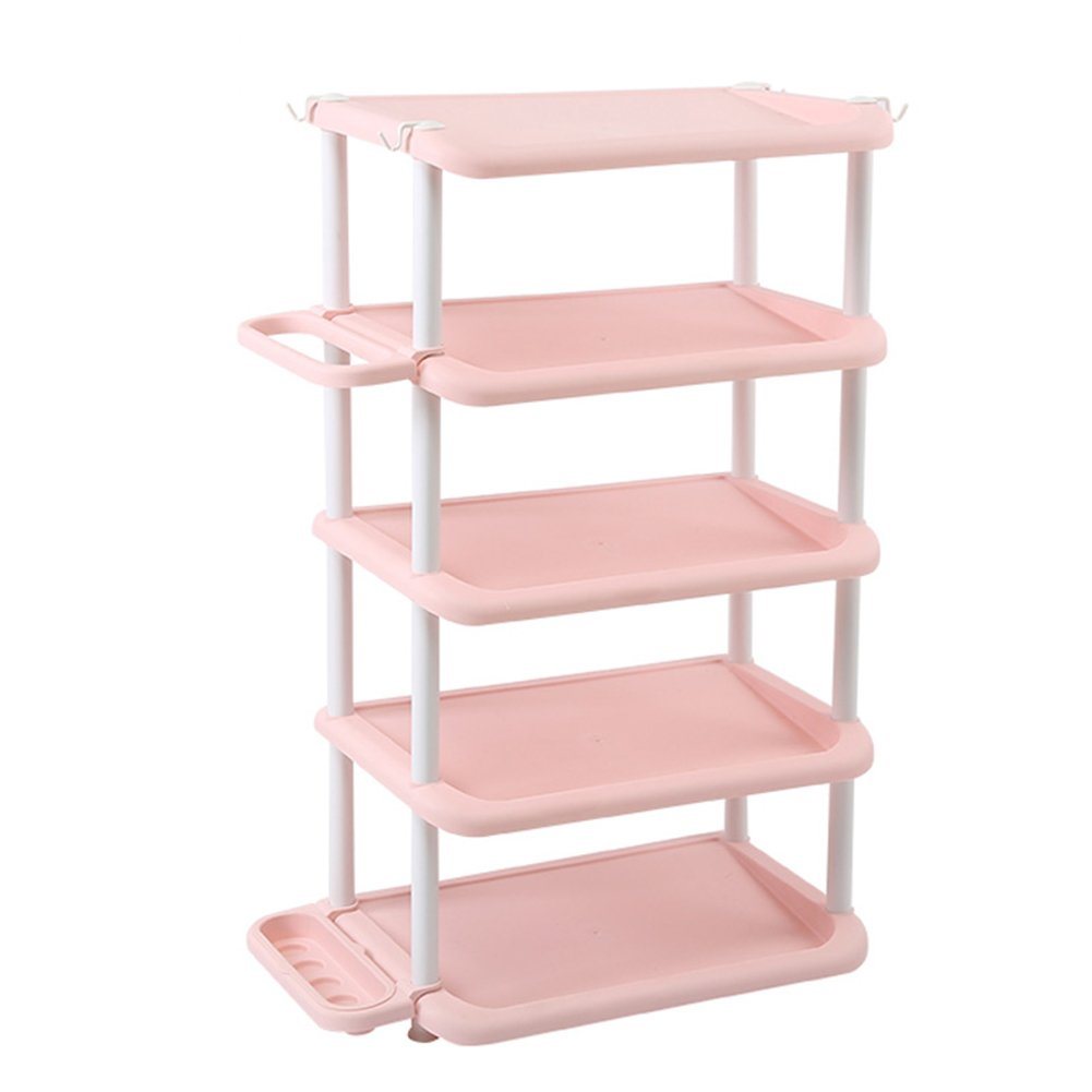 Shoes rack 5 Layers Plastic Household Hotel Umbrella Storage Rack Simple Space Saving Small at The Door (Color : Pink)