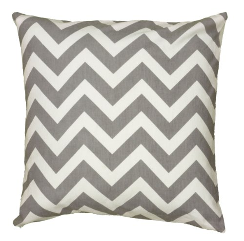 Rizzy Home T06161 Printed Chevron Details Decorative Pillow, 18 by 18-Inch, Gray