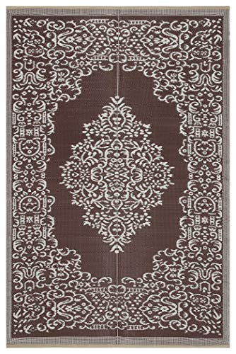 - Lightweight Indoor Outdoor Reversible Plastic Area Rug - 5.9 x 8.9 Feet - Medallion Oriental Design - Brown/White