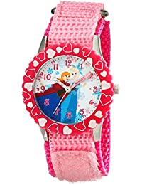 Kids' W001935 Elsa And Anna Time Teacher Stainless Steel Watch With Pink Nylon Band
