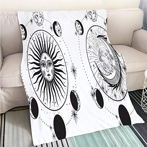 Art Design Photos Cool quilt the face of the sun and the moon the stars the Masonic tattoo the design of T shirts alchemy Akultism medieval religion Art Blanket as Bedspread Gold White Bed or Couch