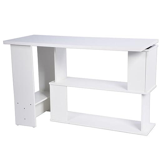 HEEGNPD Folding Corner Computer Desk L-Forma portátil Mesa Home ...