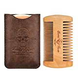 2019 Version Wooden Beard Comb & Durable Case for Men with Sexy Beard, Fine & Coarse Teeth, Pocket Comb for Beards & Mustaches,Brown Skull Design