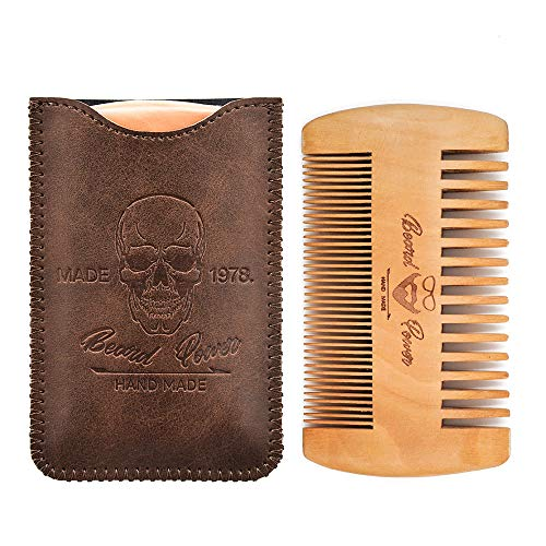 2019 Version Wooden Beard Comb & Durable Case for Men with Sexy Beard, Fine & Coarse Teeth, Pocket Comb for Beards & Mustaches