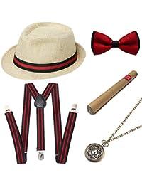 BABEYOND 1920s Mens Gatsby Gangster Costume Accessories Set Panama Hat Suspender (Beige2 Set)