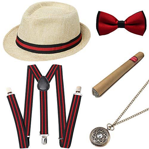 (BABEYOND 1920s Mens Gatsby Gangster Costume Accessories Set Panama Hat Suspender (Beige2)
