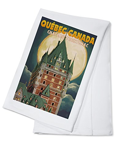 Quebec City, Canada - Chateau Frontenac and Full Moon (100% Cotton Kitchen Towel)