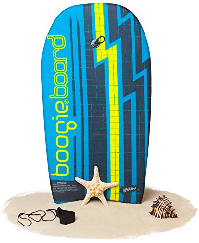 Boogie Board 33 Fiberclad Bodyboard - Durable Fiberclad Deck with Phuzion Core and Leash - Choose Your Graphics (Voltage Surge, Aqua)