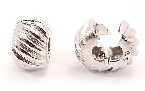 c6e6909e1e5e Abalorio de seguridad con cierre de clip. Charm stopper Plata de Ley 100%  fabricado en España, compatible pulseras tipo Pandora, Swarovski, chamilia,  ...