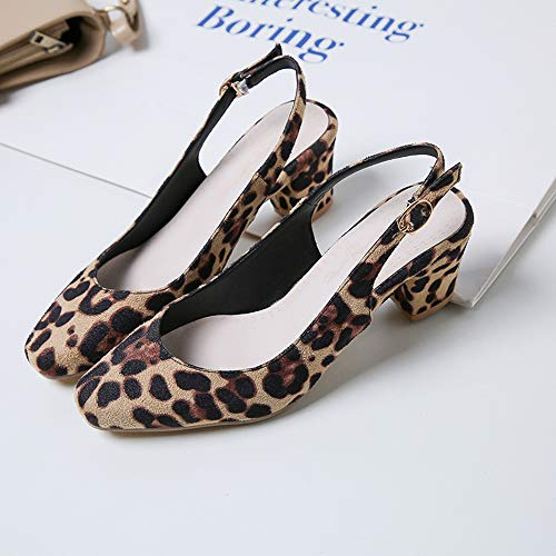 Medio Slingback Zanpa Elegante Tacco Donne Leopard Pumps q1XwARxvw