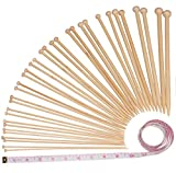 #1: Bamboo Knitting Needles Set by Cfox | 36pcs Single Pointed Knitting Needle Case - Premium Collection | 18 Sizes: 2mm – 10mm kit with 60 Inch Tape Measure