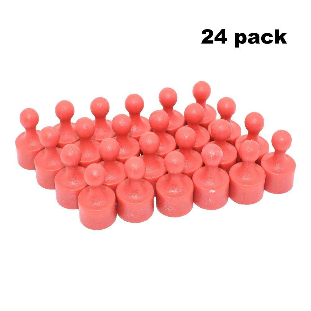 24 Pack Magnetic Push Pins Useful for Fridge,Office,Map Magnets,Kitchen Magnets,Whiteboard Magnets, Photo Magnets,Fun Colorful Magnets and More Red