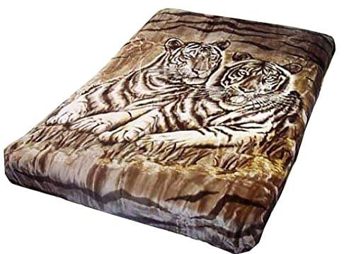 Korean Solaron Vivalon Super Thick Heavy Weight Ultra Silky Soft Mink Heavy Duty Reversible Blanket bed comforters bedspreads bedding comforter King or Queen(King, 122 Two Tiger Brown)