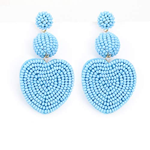 Heart Baby Blue Statement Round Beaded Hoop Bohemia Earrings Handmade Tassel Fringe Drop Dangle Flower Chandelier Vintage Stud Earrings Gifts for Mom,Women Girls (Heart Earrings Chandelier)