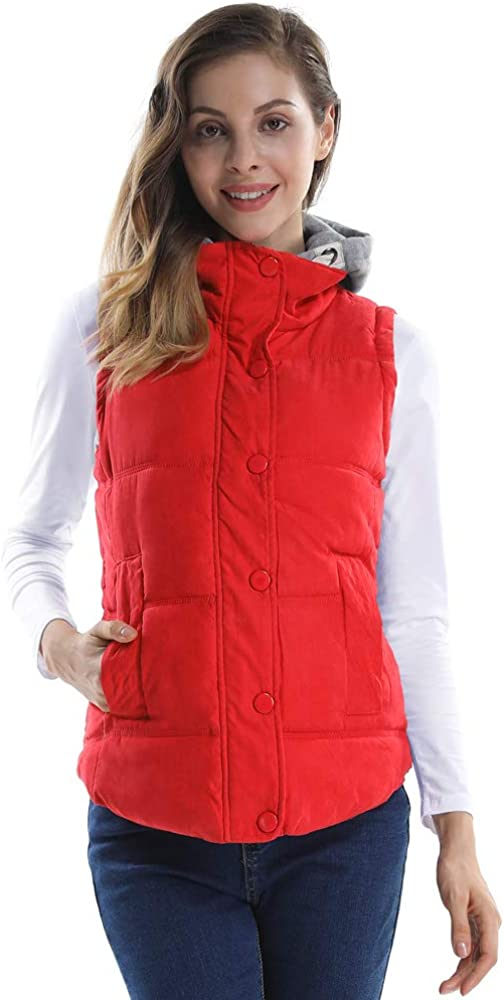 Phorecys Women Quilted Waterproof Outdoor Gilet Zipper Vest Jacket