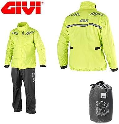 Givi - Conjunto de chaqueta y pantalón impermeable para usar con motos, para la lluvia, de color fluorescente, para moto y scooter, talla XXXL