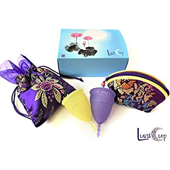 Luna Menstrual Cup Set of 2-1 Large 1 Small Period Cup High Quality, Comfortable & Best Alternative for Collecting Menstruation Flow with Storage Bags (S&L Cups)